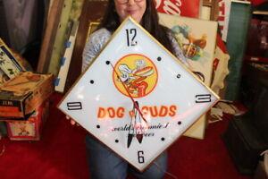 """Vintage 1973 Dog n Suds Root Beer Soda Pop 22"""" Lighted Pam Clock Sign WORKS"""