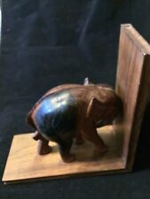 "9"" VINTAGE TEAK WOOD CARVE.ELEPHANT BOOK END"