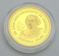 SPAIN ECU 1993 CHRISTOPH COLUMBUS 1/10 OZ GOLD PROOF COIN BAR BULLION CERTIFICAT