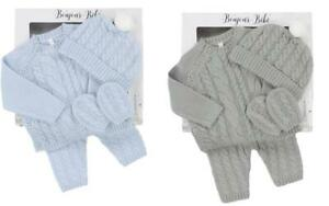BNWT Bonjour Bebe baby boy grey or blue  knitted top jumper pants mitts  hat set