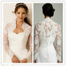 Ivory White Lace Wedding Jackets Bridal Long Sleeve Boleros Stole Shawl Custom