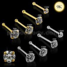 Extremo de bola de oro sólido 22G-6mm 9K Calidad Redonda Máquina de Corte nariz joyas Pin Stud