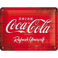 Targa in Latta Coca-Cola - Logo Red Refresh Yourself in metallo stampato 15 x 20