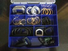 Lot Of Keyrings Clasps And Buckles In Storage Box Crafts Diy