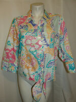 CHICO'S Top Women's Size L 2 Multicolored NO IRON Tie Front 3/4 Slv Button Shirt
