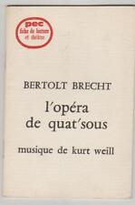 PEC Fiche de lecture et théâtre Bertolt Brecht L'opéra de quat'sous