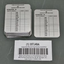 """(30) Fire Extinguisher Inspection Record Tag 35Tj49, 3"""" x 2-1/4"""", Aluminum, 2022"""