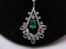 Lovely Estate Platinum Diamond & Emerald Pendant and Decorative Chain Necklace