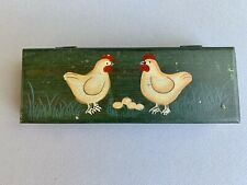 Vintage Wood Wooden Pencil Box Case Hinged Top Hand Painted Chickens Eggs