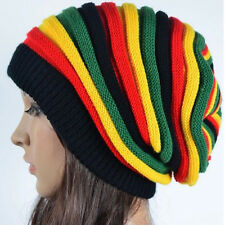 Fashion Women's Striped Warm Knitted Crochet Jamaican Slouchy Baggy Beanie Hat