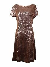 2520-2 SL Fashions Womens Short Sleeve Sequin Embellished A-Line Copper 12 $119