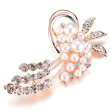 Be Rose Gold Brooch Flower Pin Rhinestones Faux Pearl Women Party Wedding Jewely