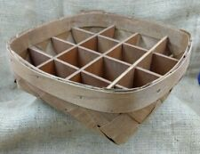 Wood Divided Egg Basket Organizer 10 x 10 Rounded Square Rustic Basketweave