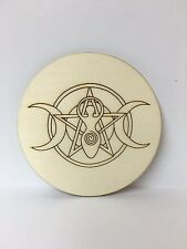 Handcrafted Wooden Altar Tile with Triple Moon Goddess and Pentagram ~ Cauldron