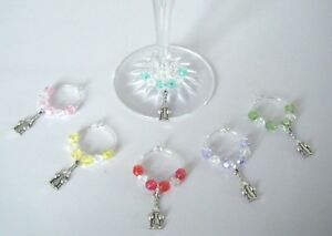 Set 6 wine glass charms WINE BOTTLE & GLASSES ideal birthday / dinner party gift