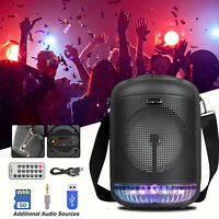 "Portable 6.5"" Wireless Bluetooth Speaker Home Party Subwoofer W/Remote LED Light"