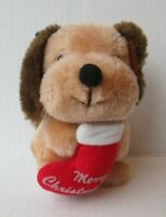 "VINTAGE DINGLE DOG MERRY CHRISTMAS 5.5"" PLUSH DOLL Russ Berrie PD26"