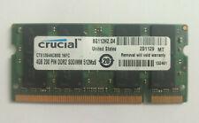 Crucial 4GB CT51264AC800 2Rx8 PC2-6400S-666-13-E1 200 Pin DDR2 SODIMM RAM Memory
