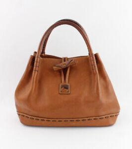 Dooney & Bourke Auth Tan Leather Satchel Handbag Logo Front