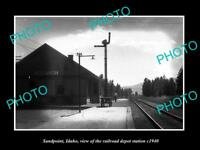 OLD LARGE HISTORIC PHOTO OF SANDPOINT IDAHO, THE RAILROAD DEPOT STATION c1940