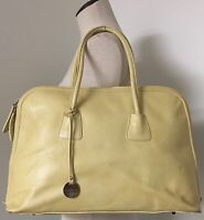 PULICATI LOVELY BUTTER CREAM YELLOW LARGE FULL DOUBLE END ZIP SATCHEL GUC