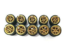 5 sets 6 Spoke 6sp big/small Gold long axle fit 1:64 Hot Wheels rubber tires