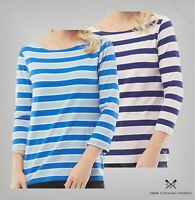 Ladies Crew Clothing Straight 3/4 Sleeve Stripe Jersey Top Sizes from 8 to 18