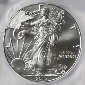 2019 ICG MS70 Huge Struck Thru Retained Plastic Silver Eagle Dollar Mint Error