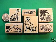 Dinosaur Rubber Stamp Set with Landscape Images, wd mtd