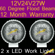 2 x LED Work Lights flood beam lamp12V/24V/27W/6500K/60 Degree 1yr warranty WR27