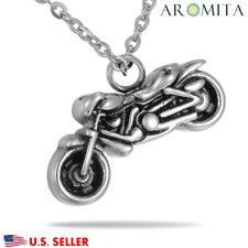 Steel Motorcycle Biker Necklace Cremation Jewelry Keepsake Memorial Urn Ashes