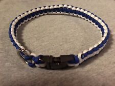 "Two Color Collar Large Paracord 17"" 1/2inches Metal Clip and metal D-Ring."