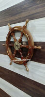 Nautical Ship Steering Wheel Pirate Wood Brass Fishing Wall Decor Anchor Look