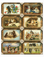 Vintage Cats Postcard Style Glossy Finish Card Making Topper