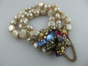Miriam Haskell Baroque Style 3 Strand Pearl Bracelet