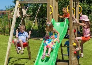 Alpholz Kinderspielturm FUNNY3 mit Sandkiste und Schaukel Holz 290 x 200 cm
