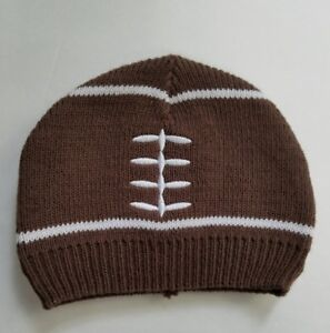 football hat embroidered knit infant 5 by 5.5 brown white