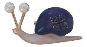 Gold Plated Enamel & Pearl Snail Brooch Snail Broach