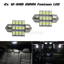 2 x 6000K White 28mm 12SMD LED DE3175 Festoon Dome Interior Light Bulbs