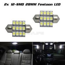 2 x 6000K White 28mm 12SMD LED DE3175 Festoon Dome Interior Light Bulbs
