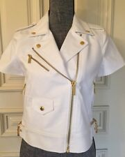 Michael Kors Women's White Short Jacket Shorts Sleeves With Gold Zippers Snipes