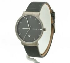 Skagen Men's Ancher Titanium and Gray Leather Watch SKW6320, New