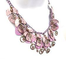 Handmade Jewelry Purple Lavender Painted Metal Necklace Peirced Earrings