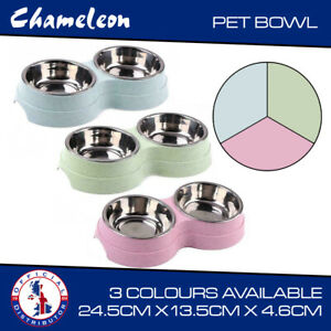 Dog Cat dog Double Bowl  Food Water Feeder Stainless Steel Pets Drinking Dish