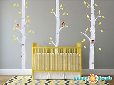 Birch Tree Fabric Wall Decals with Owls & Leaves, Set of 3 Birch Trees