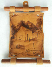 Nicaragua Leather Burned Sign-Village Scene-Vtg Novelty-Wood Dowell-