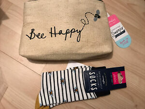 JOULES WOMENS Bee SOCKS SIZE UK 4 - 7 And Bee Happy Clutch Bag - Great Gift! New