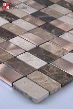 Marbré Aluminium Mosaïque Carrelage Brun Clair/Foncé Beige Bronze Neuf 1m ²
