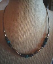 """SOUTHWEST STYLE LIQUID SILVER AND TURQUOISE NUGGETS AND STERLING BEADS 16"""""""