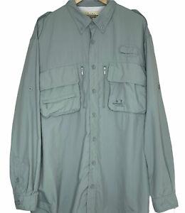 Cabelas Guidewear Shirt Mens XL Tall Green Long-Sleeved Fishing Vented Button Up